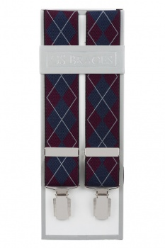Burgundy and Blue Argyle Diamond Trouser Braces